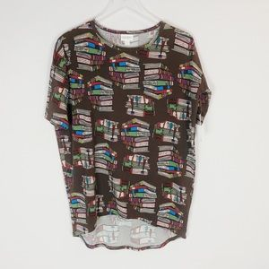 LuLaRoe Irma Stacked Books Pattern T-Shirt Sz XXS